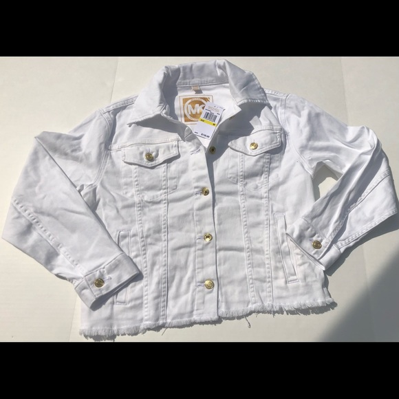 Michael Kors White Denim Jacket Frayed Hem